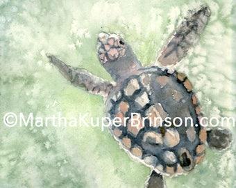 Loggerhead sea turtle art watercolor giclee print, already matted 11x14 inches