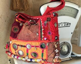 Jaipur rare Authentic Handmade Vintage Red Banjara Bag,Ethnic Embroidered Fabric Bag,Tribal Bohemian Multi color embellished bag Model JB#1