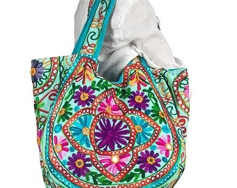 25% Off Sale Blue Floral Handmade Shoulder Bag Bohemian Handbag Tote Casual Spacious Floral tapestry