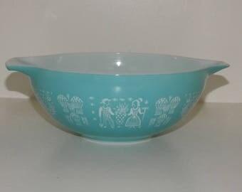 Pyrex Vintage Butterprint Mixing/Nesting Bowl - Largest Size - 444 - 4QTS - Turquoise - Cinderella Handles - Amish