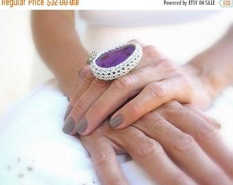 CIJ SALE Crochet Agate Ring, Purple, Adjustable Ring, Silver Yarn, Glass Beads