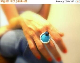 CIJ SALE Turquoise Crochet Ring, Handmade, Silver Lame Cotton Yarn, Black Glass Bead, Adjustable