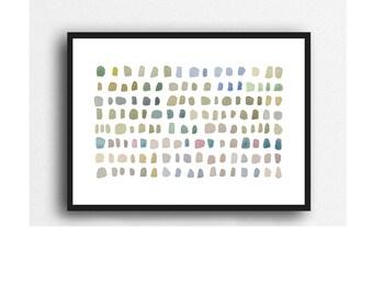 pebble art, Abstract watercolor painting, zen decor, abstract painting pebbles, minimalist home decor
