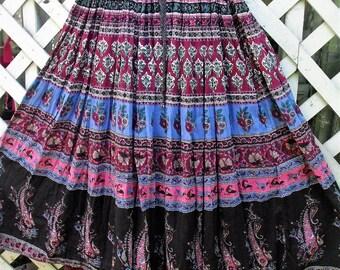 Cotton gauze Paisley Print Skirt/ Full Skirt with Drawstring-Elastic Waist/ Black with Multi Color Print/ Thrifted Bo-Ho/ Shabbyfab Funwear