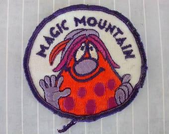 "Shabby Used 2.9"" Magic Mountain Bloop Troll Patch, Amusement Park Mascot Applique, Valencia California Travel Souvenir, 1970s Collectible"