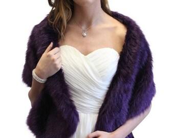 Summer Sale Faux Stole Egg plant Purple, Bridal fur stole, shrugs, bolero wraps 900F-PUR
