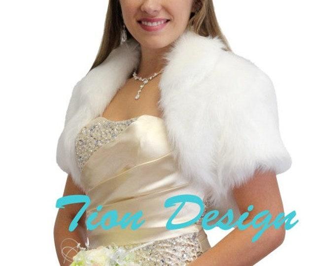 Spring Sale Bridal Faux fur Bolero, White Faux Fox Fur Bridal Bolero Crop Jacket 680NF-WHI, faux fur wrap, faux fur shawl