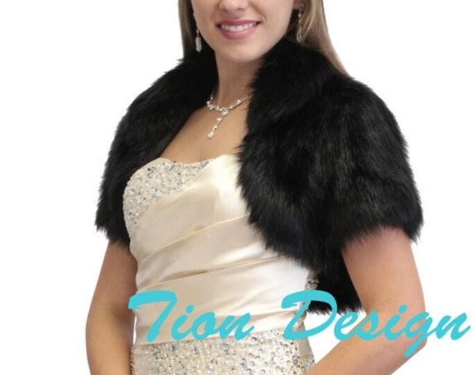 Easter Sale Bridal Faux fur bolero, Black Faux Fur Bolero Crop Jacket, Fur Shrug, Fur Coat, Fur Stole 680NF-BLK