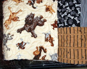 """DOWN DOG yoga QUILT Lap/Twin/Bunk/Couch Throw 62""""X84"""" cream, brown, black, grey"""