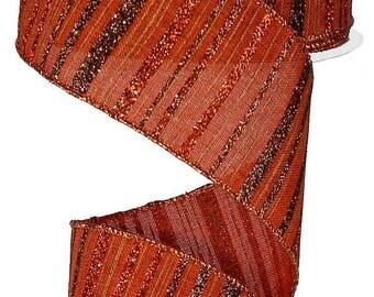 SUPPLY SALE 2.5 Inch Copper Brown Copper Burlap Glitter Strip Ribbon RX3874Gg, Deco Mesh Supplies