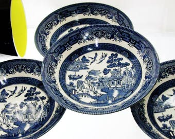 English Blue Willow China Bowl Set by Churchill Four Pieces