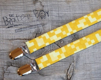 Pixelated shades of Yellow suspenders for little boy suspenders - ring bearer, photo prop, wedding