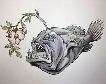 ORIGINAL Angler Fish Watercolor Painting 11x14 inches Wild Rose