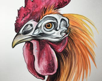 ORIGINAL Rooster Skull Watercolor Painting 8x10 inches