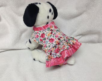 Female Dog Diaper Dress One Piece Pet Wrap Romper Bodysuit Overall Britches Doggie Pants Size xSmall To Large Victorian Floral Print