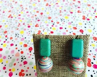 Tie dye turquoise earrings