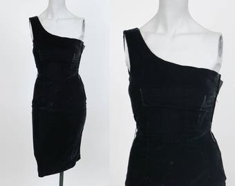 Vintage 80s Dress / 1980s Black Velvet One Shoulder Minimalist Sheath Dress XXS