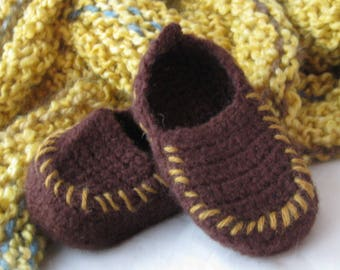Brown Wool Crochet Felted Moccasin Baby Bootie, Sizes S M L,  Made to Order, Top Stitched Gold, Babies First Loafers, Baby Toddler Moccasins