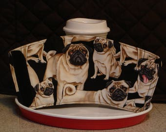 ARTI REVERSIBLE Coffee cup sleeve, PUGS several sizes