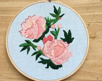 Peony Flower Embroidery | pink peony flower, embroidery hoop art, embroidery wall art