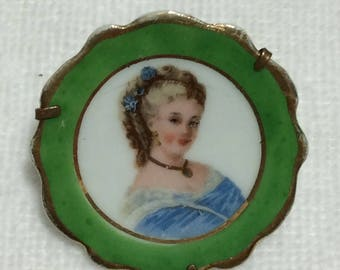 Antique jewelry Limoges porcelain pin