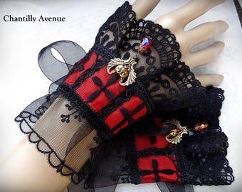 Black and Red Gothic Cuffs, Black Lace Cuffs, Victorian Cuffs, Victorian Jewelry, Lace Jewelry