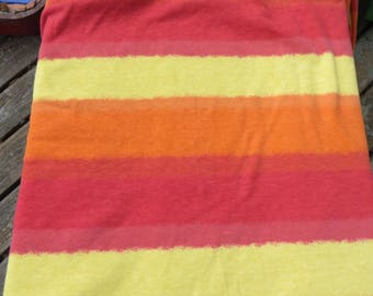 Jersey Knit Stretch Fabric Bold Stripe Print Oranges and Yellow and Red Large Striped Stretch Cotton Fabric One Yard Knit Fabric Tee Shirt