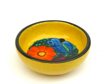 Rare Vintage Czechoslovakian J Mrazek Peasant Pottery, Yellow Colorful Flowers, Hand Painted Bowl, Finger Dipping, Ring Dish