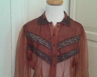 ON SALE 50s 40s Sheer Blouse, Cocoa Brown, Embroidery, Nylon, 3/4 Puff Sleeves, Size Medium