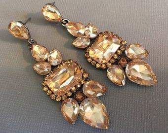 Long Champagne Earrings Long Rhinestone Earrings in Champagne beige rhinestones Art Deco style gunmetal finish formal Wedding