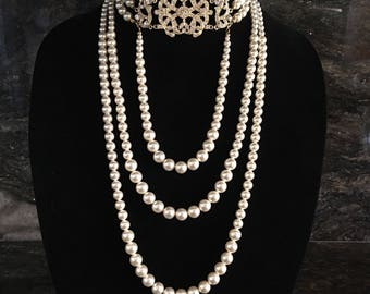 Pearl Edwardian Necklace Long Great Gatsby Pearls with Art Deco choker in Gold and Cream ivory Swarovski pearls bridal wedding jewelry