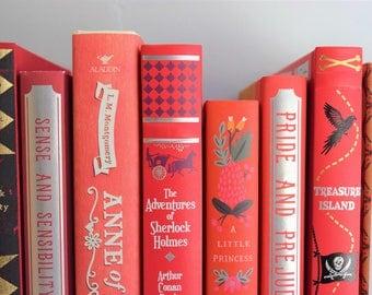 Fine Art Print - Book Photography - Red Shelfie  Classic Literature Book Print - Bibliophile - Bookworm