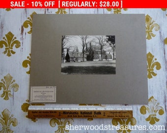 Westover American Architecture James River Charles Co. Va Original Mounted Photograph Black and White Photo