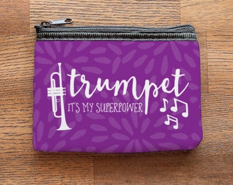 Trumpet is my Superpower Purple Neoprene Coin Purse or Zipper Pouch