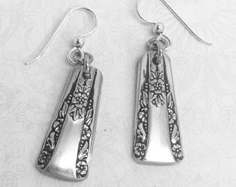 """Vintage Demitasse Spoon Earrings, Dangle Earrings, Silverware Jewelry, """"Camelia"""" 1940"""