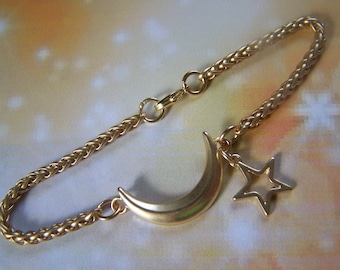 Moon and Star Bracelet Satin Gold Wheat Chain