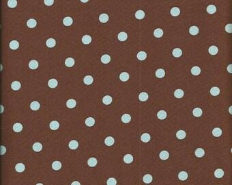 Robert Kaufman Brown with Blue Polka Dot Fabric (2 yards)