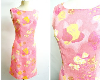 1960s Pink yellow printed linen Alice Edwards fitted shift dress / 60s sleeveless abstract floral cotton silk day dress - S