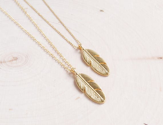 Gold Feather Boho Necklace
