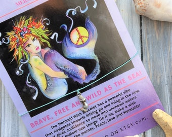 WISH Bracelet Mermaid Peace Jewelry with art card/wish charm/friendship/bridal/beach/gift/art/keepsake