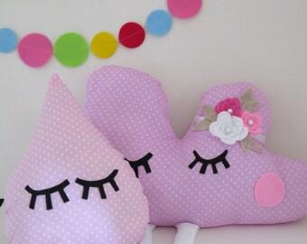 Cloud pillow ,drop pillow , nursery pillows , kids pillow , baby pillow , crib pillow , pillow set , pink pillows