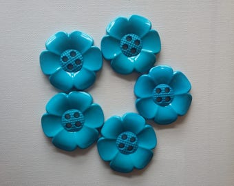 Lot of 5 Extra Large Flower Buttons - Turquoise