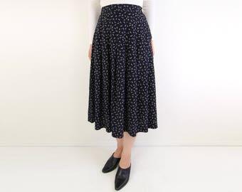 VINTAGE Moon Print Skirt Black Pleated Mid Length 1980s
