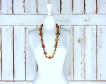 Chunky wood seed bead necklace/vintage wooden tribal/boho/festival necklace/long beaded seed necklace