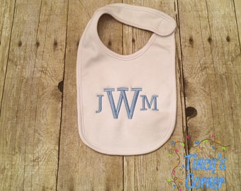 Three Initials Plain White Bib
