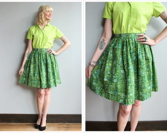 1950s Skirt // Abstract Verdant Skirt // vintage 50s skirt