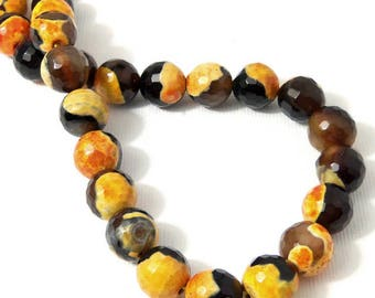 Fired Agate, 10mm, Orange and Black, Round, Faceted, Gemstone Beads, 15 Inch Strand - ID 2270