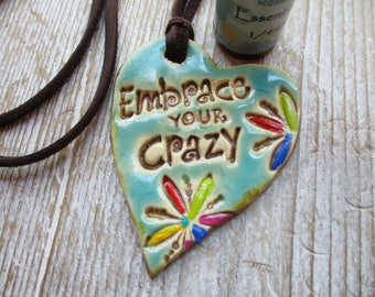 Essential Oil Diffuser Necklace Pottery Ceramic Add a drop to un glazed back of pendant