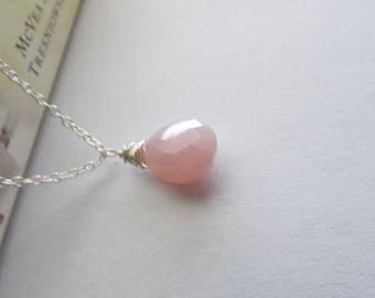 Rose Pink Chalcedonty Gemstone Necklace,Rose Pink Necklace,Gemstone Necklace,Sterling Silver Necklace, Gesmtone Necklace,Pink Necklace