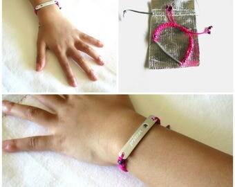 Little Girl Bracelet Adjustable with Engraving on Front and Back, CZ Stone, Gift for Granddaughter, Gift Idea for Niece, Nickname Bracelet,